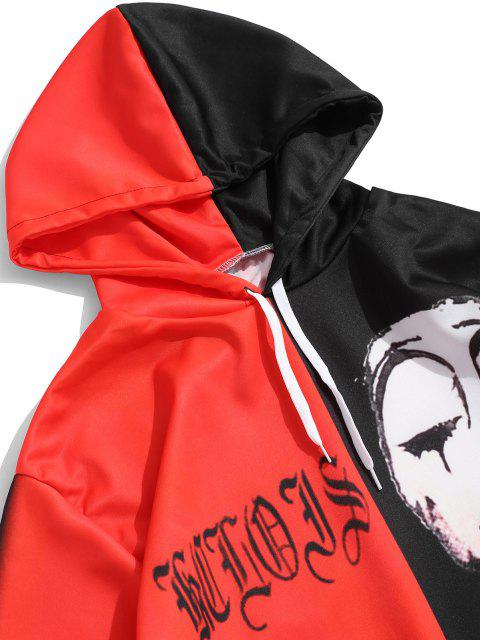 hot Two Tone Halloween Face Graphic Drawstring Pullover Hoodie - MULTI XL Mobile
