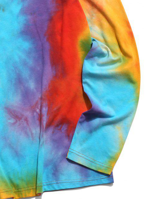 T-Shirt di Tie-Dye con Maniche Lunghe di ZAFUL - Multi Colori XL Mobile