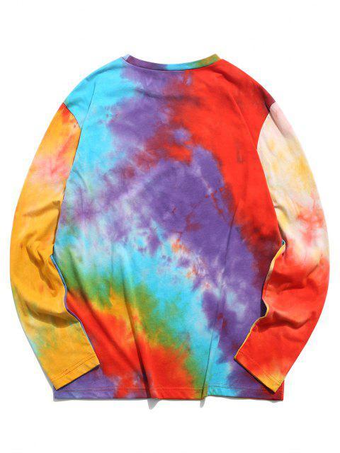 ZAFUL Camiseta de Manga Larga con Estampado de Tie Dye - Multicolor L Mobile