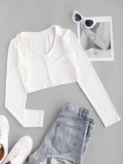 T-shirt Court Côtelé Boutonné - Blanc L Mobile