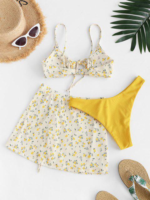 outfits ZAFUL Ribbed Lemon Print Cinched Three Piece Bikini Swimwear - YELLOW M Mobile