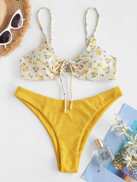 shops ZAFUL Ribbed Lemon Print Drawstring Keyhole Bikini Swimwear - YELLOW S Mobile