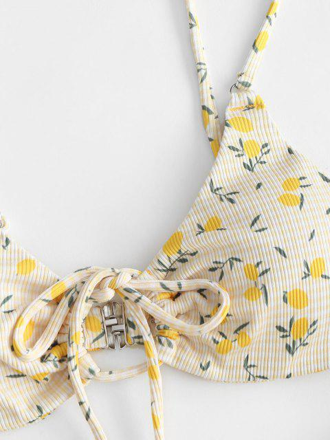 ZAFUL Gerippter Bikini Badebekleidung mit Zitronendruck und Tunnelzug - Gelb L Mobile