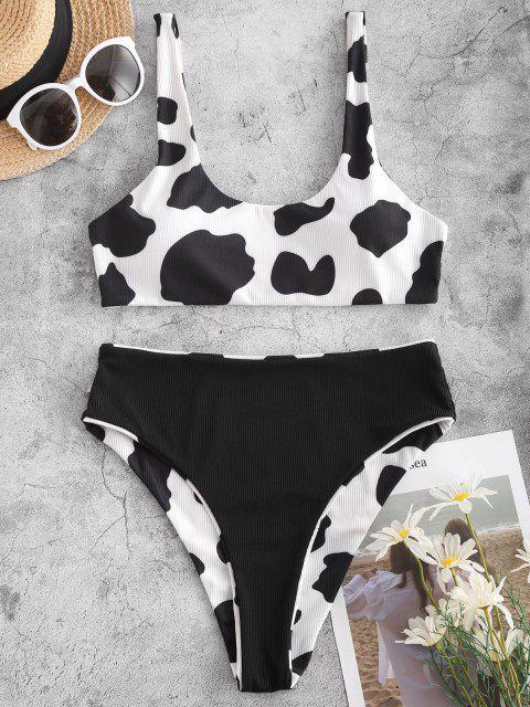 fancy ZAFUL Reversible Cow Print Ribbed Bikini Set - BLACK S Mobile