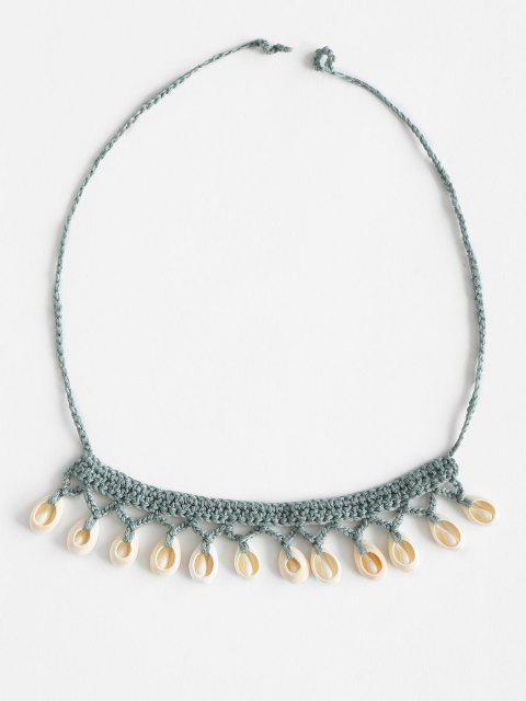 trendy Shell Beach Crocheted Necklace - LIGHT GREEN ONE SIZE Mobile