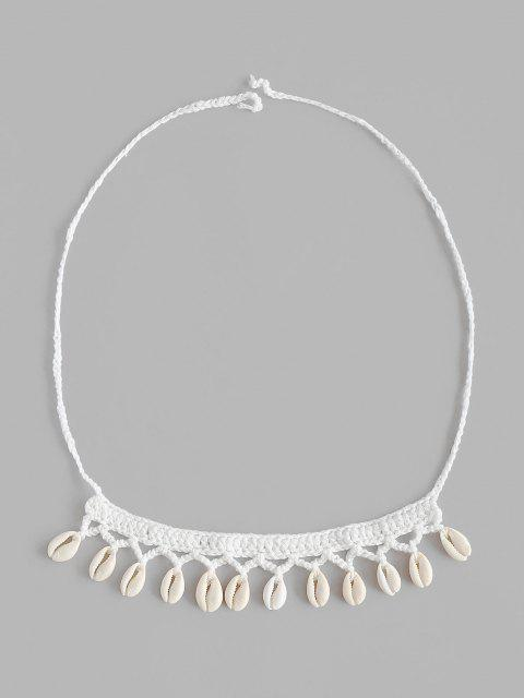 fashion Beach Shell Embellish Crochet Choker Necklace - WHITE ONE SIZE Mobile