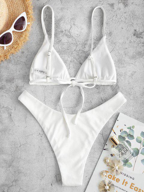 ladies ZAFUL Ribbed Butterfly Print High Leg Bikini Swimwear - WHITE S Mobile