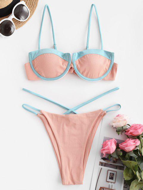 hot ZAFUL Two Tone Underwire Balconette Bikini Swimwear - LIGHT ORANGE S Mobile