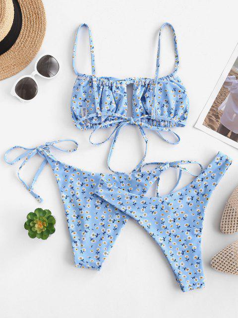 chic ZAFUL Ditsy Print Cutout High Leg Three Piece Bikini Swimwear - LIGHT BLUE S Mobile