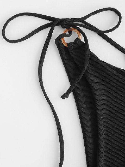 fancy ZAFUL Ribbed O Ring Side Tie Bikini Bottom - BLACK S Mobile