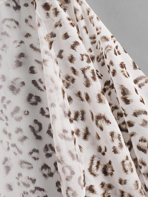 outfits Leopard Kimono Cover Up - WHITE L Mobile
