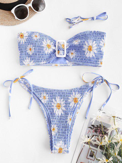 online ZAFUL Smocked Daisy Print Strapless Bikini Swimwear - LIGHT BLUE M Mobile