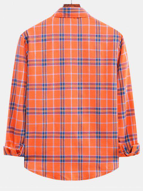 チェック柄の湾曲した裾シャツ - カボチャオレンジ L Mobile