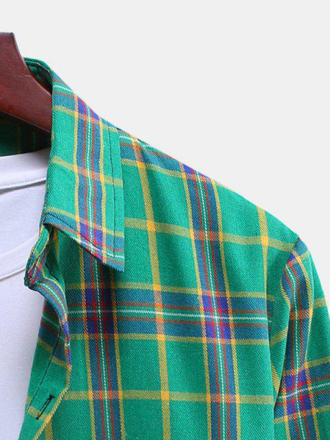 lady Plaid Curved Hem Button Down Shirt - CLOVER GREEN S Mobile