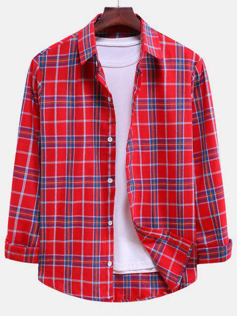 lady Plaid Curved Hem Button Down Shirt - LAVA RED M Mobile