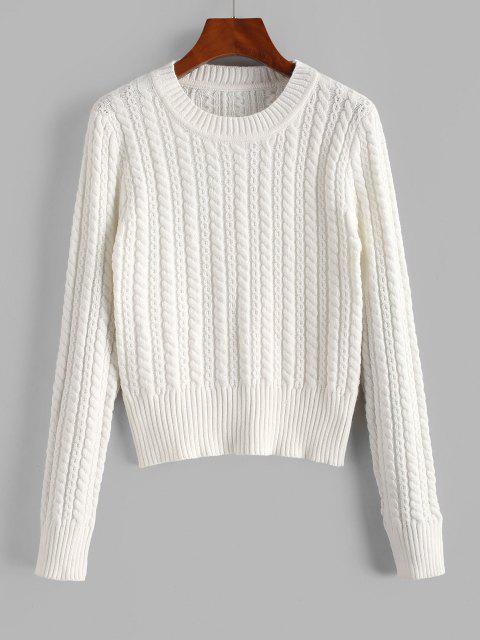 Suéter de Crochê Laceado com Gola Redonda - Branco Um Tamanho Mobile