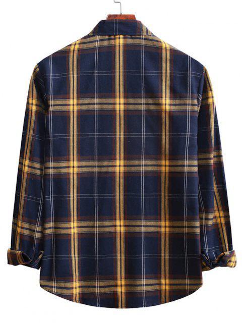 best Button Up Plaid Casual Shirt - DENIM DARK BLUE S Mobile