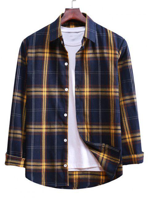 Camisa Casual a Cuadros y Botones - Azul Oscuro de Denim 2XL Mobile