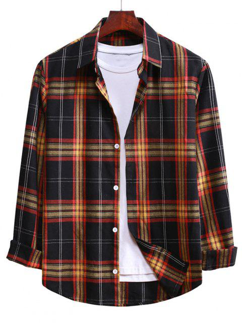 buy Button Up Plaid Casual Shirt - BLACK M Mobile
