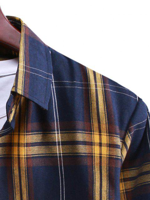 womens Button Up Plaid Casual Shirt - DENIM DARK BLUE XL Mobile