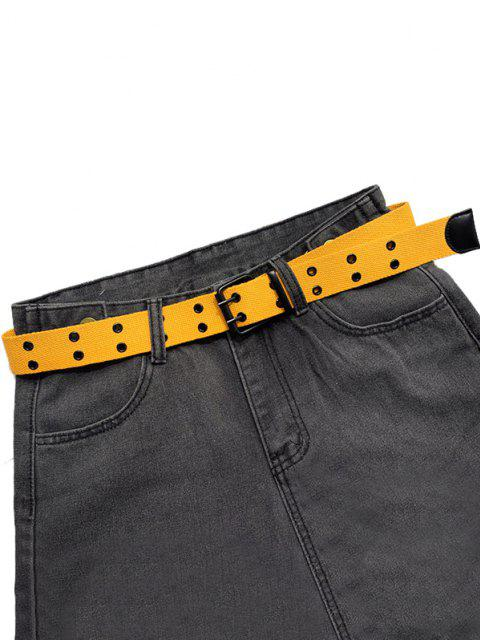fashion Double Row Holes Canvas Belt - YELLOW  Mobile