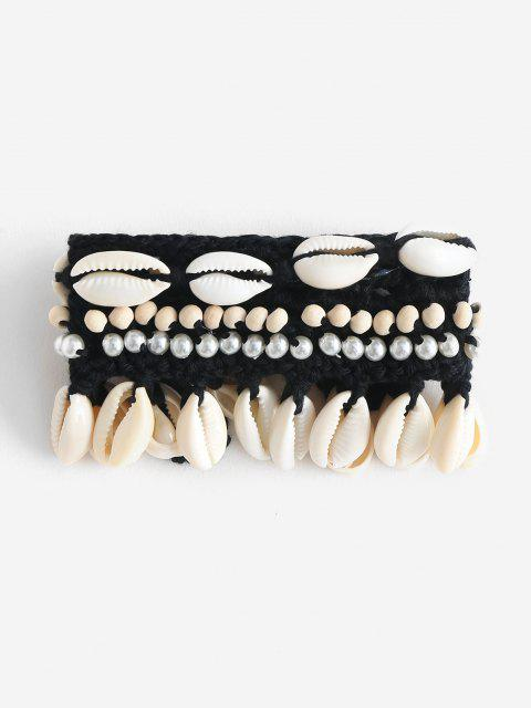 best Beach Shell Beading Crocheted Bracelet - BLACK ONE SIZE Mobile