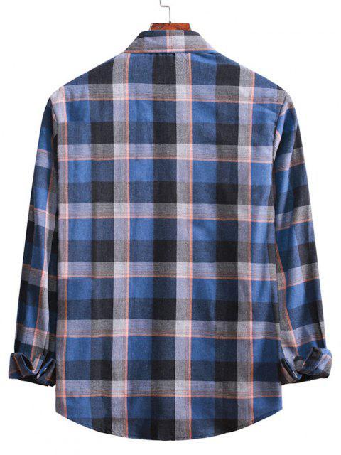 長袖プラッドカジュアルシャツ - デニムダークブルー 2XL Mobile
