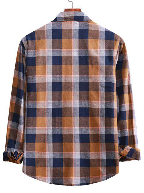 affordable Long Sleeve Plaid Casual Shirt - CAMEL BROWN S Mobile