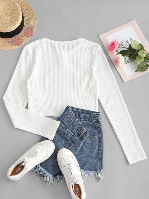 ZAFUL T-shirt Court Détaillé - Blanc XL Mobile