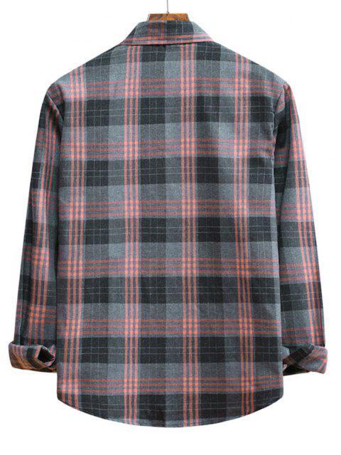 Long Sleeve Plaid Pattern Button Up Shirt - وردة زهرية L Mobile