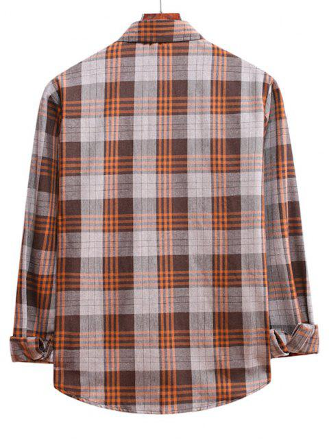 sale Long Sleeve Plaid Pattern Button Up Shirt - ANTIQUE WHITE XL Mobile
