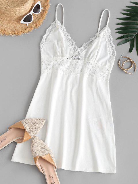 ZAFUL Vestido de Pijamas de Lace com Painel de Renda - Branco L Mobile