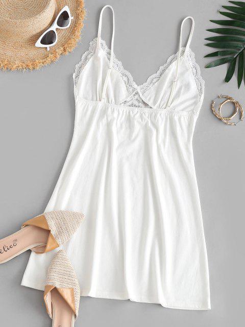ZAFUL Vestido de Pijamas de Lace com Painel de Renda - Branco S Mobile