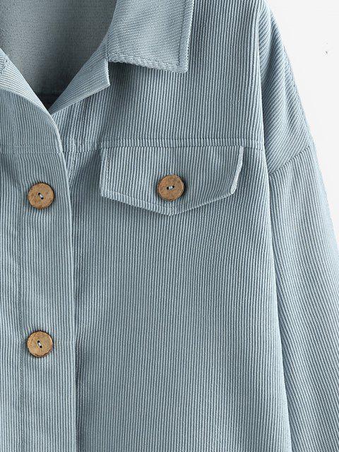 hot ZAFUL Corduroy Button Up Flap Detail Jacket - BLUE GRAY L Mobile