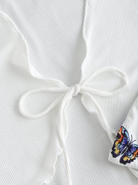 women's ZAFUL Ribbed Butterfly Print Three Piece String Bikini Swimwear - WHITE M Mobile