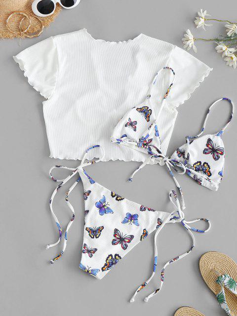 ZAFULリブ付き蝶はスリーピースストリングビキニの水着 - 白 M Mobile