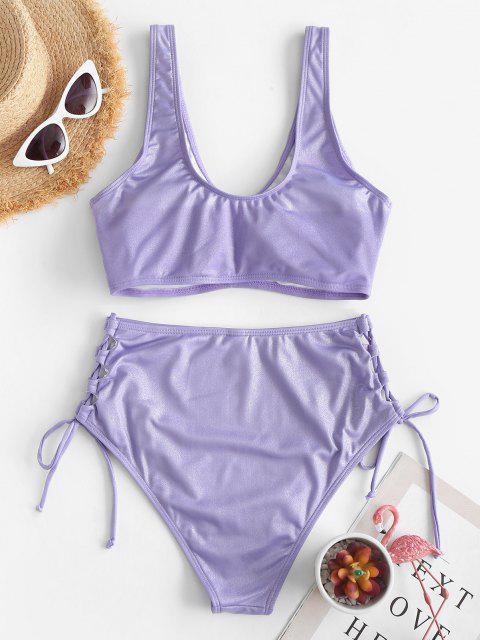 buy ZAFUL Shiny Ruched Lace Up Tankini Swimwear - PURPLE 2XL Mobile