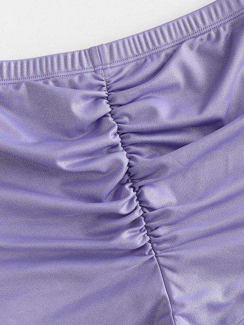 ZAFUL Glänzender Geraffter Bikinihose mit Hoher Taille - Helles Lila M Mobile