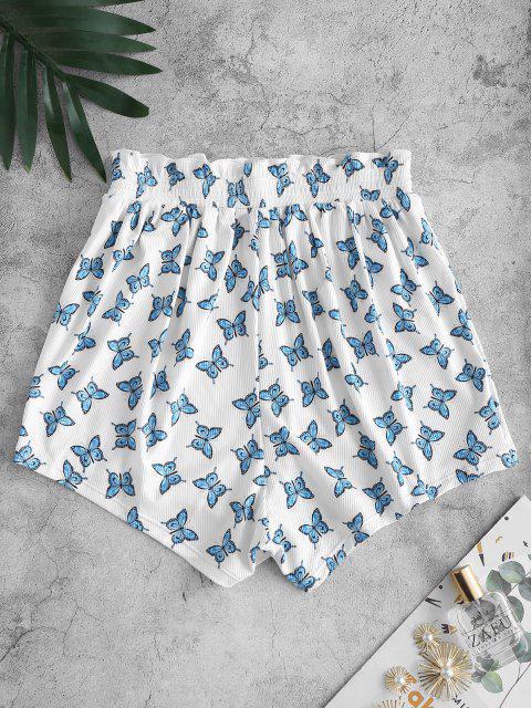 lady ZAFUL Ribbed Butterfly Print Ruffle Swim Bottom - WHITE M Mobile