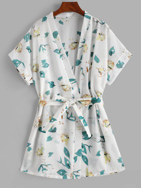 hot Floral Beach Robe - WHITE ONE SIZE Mobile