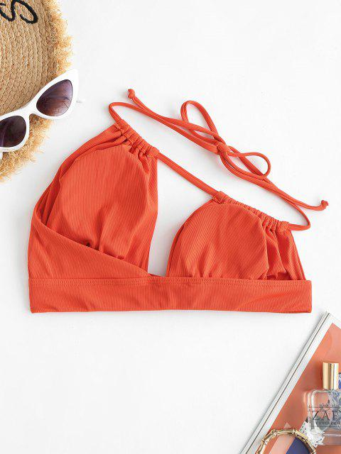 ZAFUL One Shoulder Ribbed Cutout Bikini Top - أحمر S Mobile