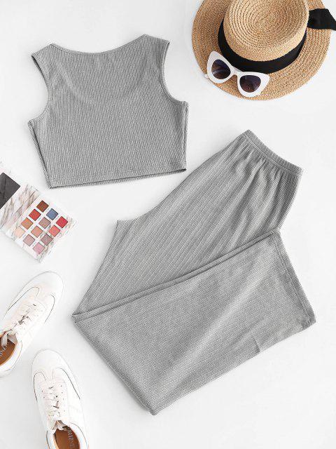 ZAFUL Geripptes Strick Pyjama Hose Set - Dunkelgrau XL Mobile