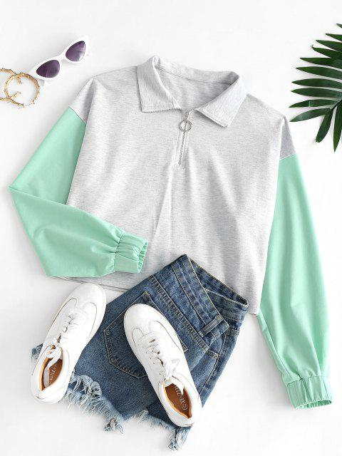 shop ZAFUL Two Tone Half Zip Sweatshirt - LIGHT GRAY L Mobile