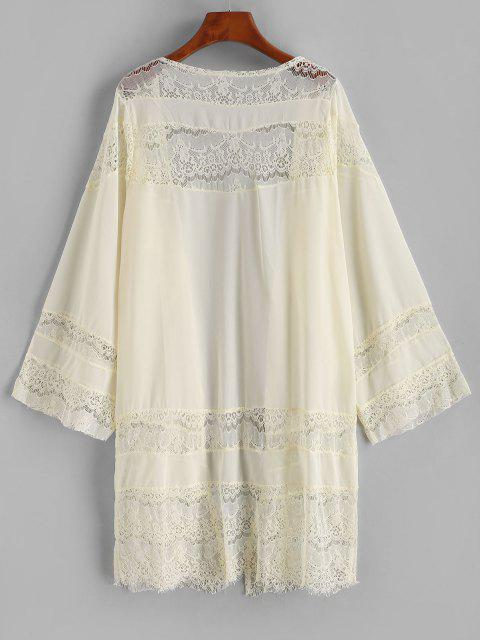 buy Lace Panel Chiffon Cover-up Kimono - LIGHT YELLOW L Mobile
