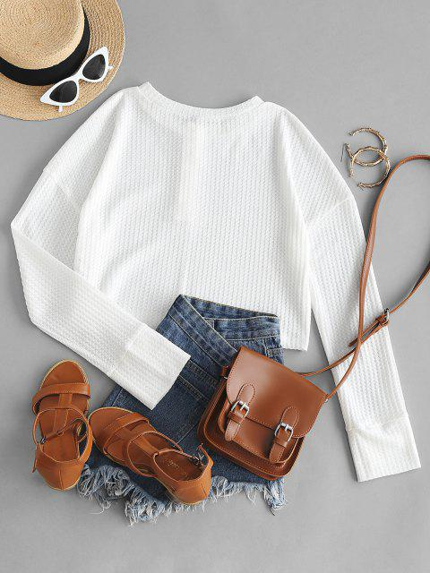 outfit ZAFUL Half Button Henley Crop Sweater - WHITE S Mobile