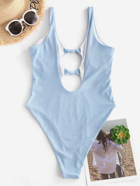outfit ZAFUL Backless Front Knot Cutout One-piece Swimsuit - LIGHT BLUE S Mobile