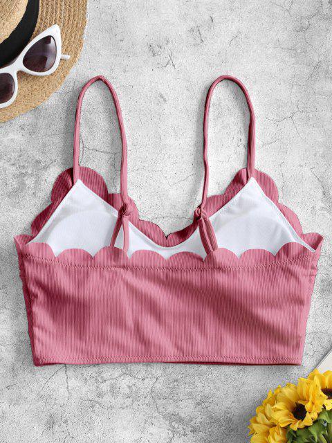 Bikini Top Imbottito Smerlato a Costine di ZAFUL - Rosa chiaro M Mobile