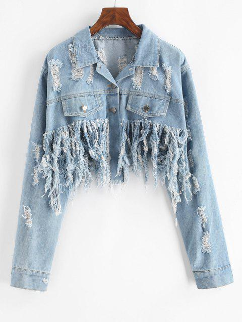 women's Distressed Cropped Jean Jacket - LIGHT BLUE M Mobile