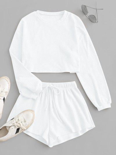 Knitted Drop Shoulder Drawstring Shorts Set - White S