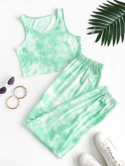 Tie Dye Two Piece Jogging Pants Set - Light Green L